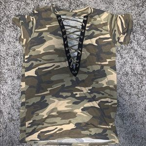 Camo laced up front short sleeve shirt